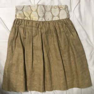 Anthropologie Lauren Moffatt gold linen skirt 0